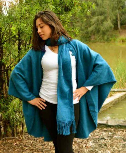 alpaca cape coat blue