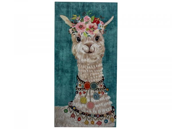 Canvas Llama Poms