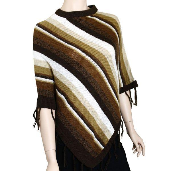 Striped Short Poncho